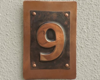 Front door sign copper front door number door signs for Front door number plaques