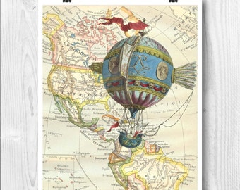 Aerostatic machine print,  Hot air balloon decor, globe balloon nursery, map art,  flying machine, decorative arts, educational poster
