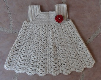 Baby Sunday Cream Dress Crochet Pattern PDF Digital Download