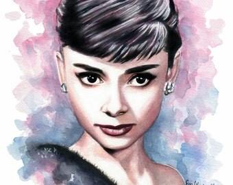 SALE Audrey Hepburn Watercolor Painting - Fine Art Giclee Print