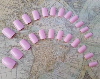 20 Pink Nails - Short Press on Nails - Glue on Nails - Pink Nails - Short Pink Nails, Fake nails, Short nails, Costume nails