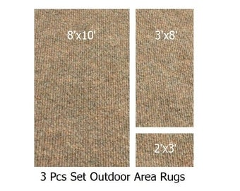 "3 Piece Set - Winter Wheat - Outdoor ECONOMY 3/16"" Light Weight 8'x10' Rug, 3'x8' Runner & 2'x3' Door Mat"