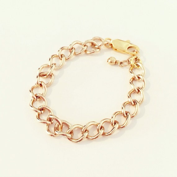 Slim Gold Chain Stacking Bracelet | Gold Curb Chain Stacking Bracelet for Baby Toddlers Girls Adults, Mommy + Me Bracelet, Small Gold Chain