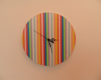 Striped wall clocck, wall clock, retro wall clock,Housewares, coloured, boys room  coloured  round or square  striped nursery décor