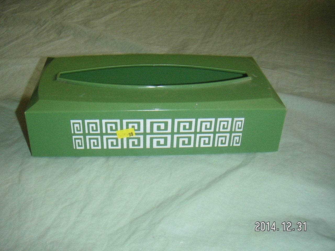 Vintage Avocado Green White Hard Plastic Tissue Box Holder