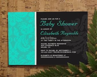 Turquoise Damask Baby Shower Invitation Template, Girl Baby Shower Invitations, Boy Baby Shower Invites, Printable, Digital PDF, DIY Printed