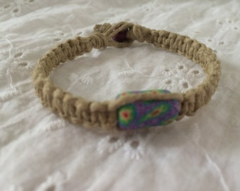 Purple Flowered Hemp Bracelet