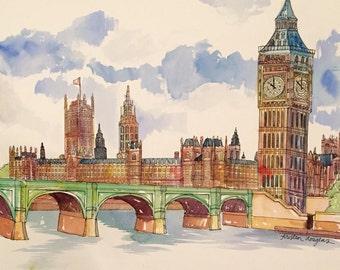 Big Ben Watercolor Print