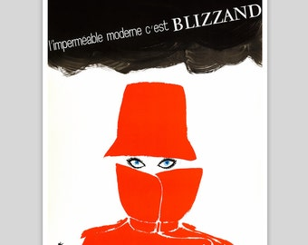 Blizzand Red Raincoat Vintage Poster