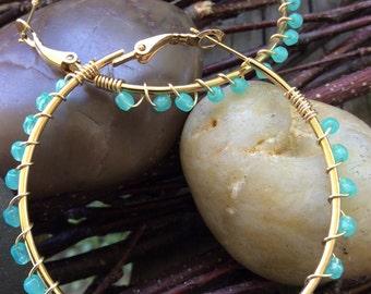 Pretty wire wrapped beaded hoop earrings