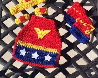 Wonder Woman inspired infant costume set