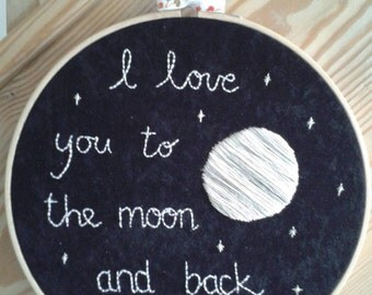 I love you... hand embroidered and mounted in an 8 inch hoop