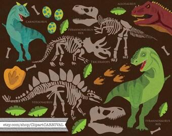 Dinosaur Fossil Clip Art for commercial and personal use t rex tyrannosaurus rex stegosaurus carnotaurus fossil bones dino egg allosaurus