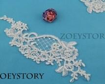 Alencon Lace Applique, Corded Lace Applique, Ivory Embroidery Lace, Bridal Lace Applique, Sell By Pair (AL048)