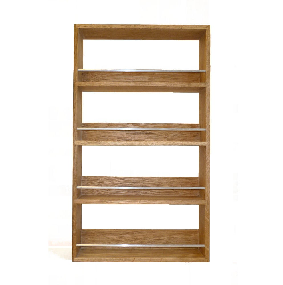 Solid Oak Spice Rack Contemporary Style 4 Shelves Freestanding