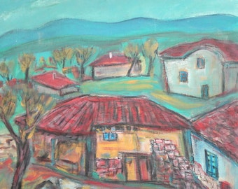 Vintage Bulgarian art expressionist oil painting landscape