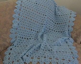 Crochet Cherished Reminder Baby Blue Afghan