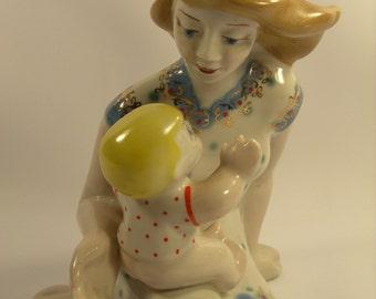 """6"""" Vintage Porcelain Figurine """"Childhood """" Soviet USSR Gorodnica Stamped"""
