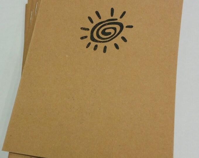Sun Rock Art Mini Notebook - diary, journal, party favors, multipack, sun, cave art, custom printing included