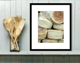 Food Photography, Kitchen Wall Art, Kitchen Decor, Wall Art, Home Decor, English, Muffin, Bakery, Bread, Market, Restaurant Decor