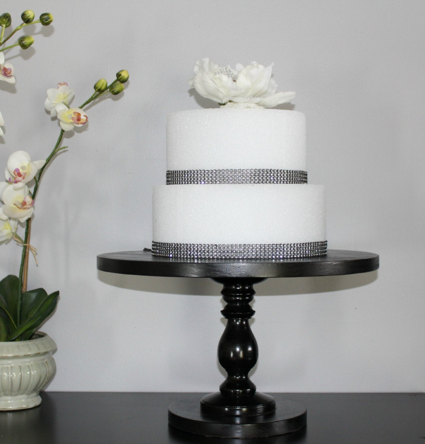 Cake Stand Shiny Black 16 inch Tall Bridal Baby shower