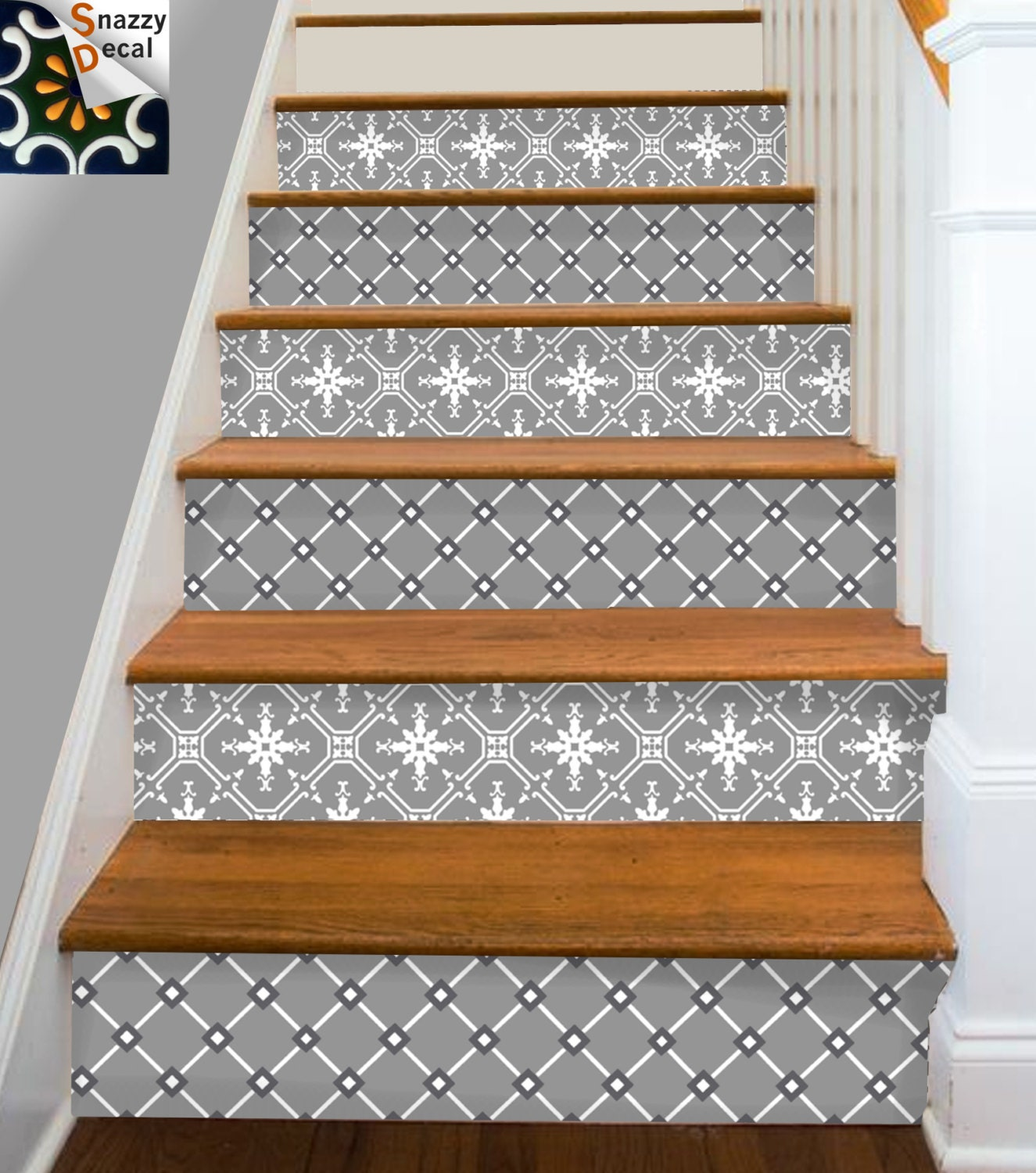 Stair riser vinyl strips removable sticker peel stick for 15 - Dalle adhesive imitation parquet ...