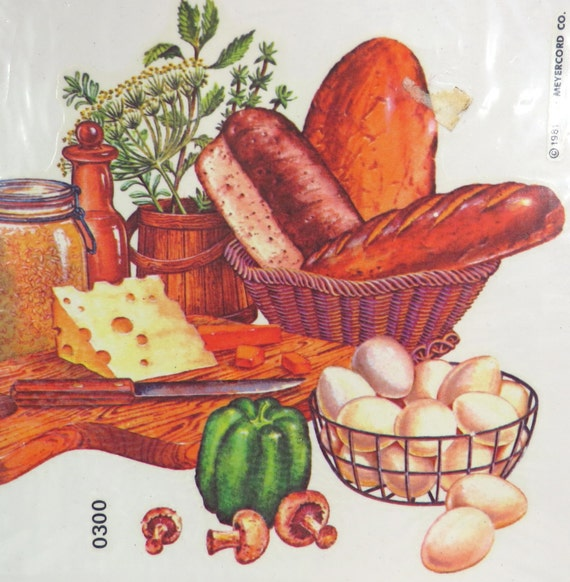Large kitchen decor meyercord retro 1970s decals nos for Telephone mural 1970