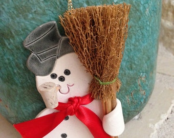 Snowman Ornament Snowman Christmas Ornament Handcrafted Ornament Frosty the snow man Christmas snowman ornament holiday ornament