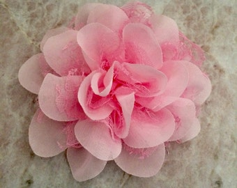 Chiffon and lace flower, large flower, pink flower, lace flower, flower puff, flower supplies, DIY supplies,