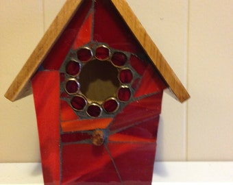 Mosaic stained glass indoor birdhouse