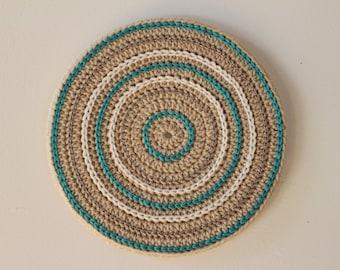 Round Crochet Wall Hanging, Beige crochet wall art - Wall hanging - Unique wall decor - Mandala wall hanging - Teal fiber art