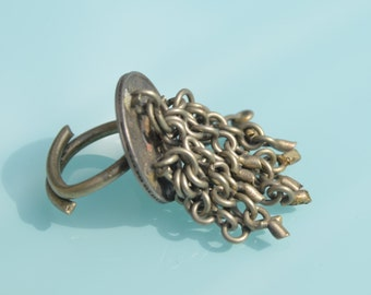 beautiful old vintage native kuchi Rajasthan jaipur coin Ring from india.