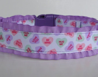 Double Ruffle Conversation Hearts Valentine Dog Collar READY TO SHIP!