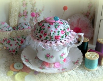 Handcrafted Vintage Tea Cup Pin Cushion - Rose Garden