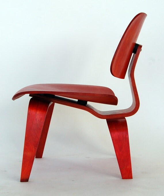 eames for herman miller red aniline lcw molded plyood lounge chair