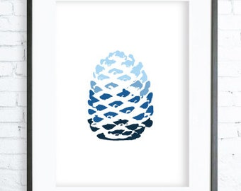 Instant Download Printable, blue pine cone, modern art, digital art, Print, blue pine cone art, blue pine cone print, office artwork