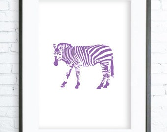 Purple Zebra Art Print, modern art, digital art, Purple Zebra  print, Zebra  Art, Zebra  Art