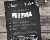 First Baby Poem PREGNANCY ANNOUNCEMENT Expecting Poster Chalkboard sign KISSING First Comes Love Then Comes Marriage Then Baby 11x14 file