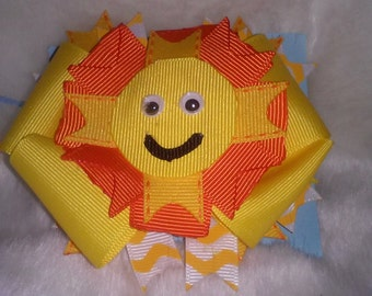 Sunshine Smiley Face Hairbow