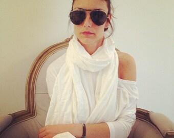 White Long Pashima Scarf / Neck Wrap scarf  / Women Fashion Accessories / Loop Scarf