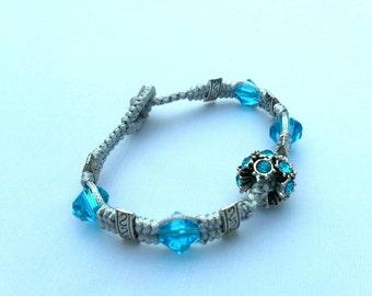 Aqua-Blue Macramé Bracelet Made with European Beads