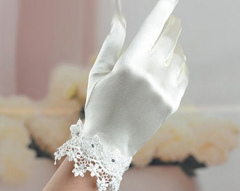 White gloves Lace bridal gloves bridal gloves lace wedding gloves high quality satin gloves