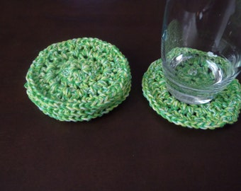 Crochet Green Yellow and White Coasters Set of 4 Home Accessories