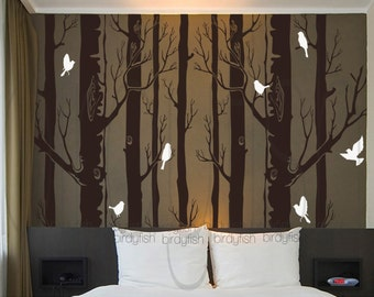 Tree wall decal nature wall decals white birch wall stickers birch trees baby nursery room vinyl wall decor