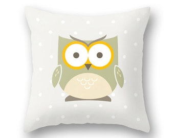 Owl pillow cover. Light cream Nursery pillow Nursery owl decor baby owl decor cream nursery pillow cream Nursery cushion owl cushion