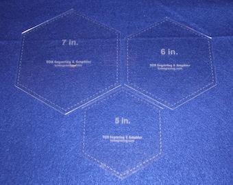 "3 Piece Set Laser Cut Hexagon Quilting Templates - 5"", 6"", 7"" Clear Acrylic 1/8"""