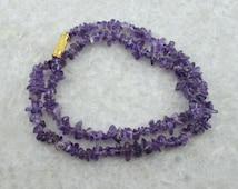 Uncut Amethyst Necklace, Semi Precious Gemstone Beads Necklace