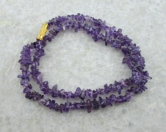 Uncut Amethyst Necklace, Semi Precious Gemstone Beads Necklace