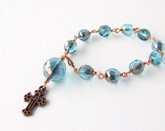 Catholic Rosary - Handmade Aqua Blue Mini Rosary Beads Chaplet Tenner - Pocket Rosary - Copper Unbreakable Rosary Chaplet - Catholic Gift