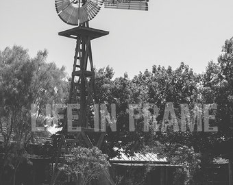 Texas Windmill, Western Photography, Black and White Photography